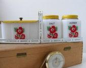 Vintage Rare VHTF McKee Tipp City, Grease Drippings Jar, Salt Pepper Shakers, Range Set, 'Red Flower' Pattern, Original Lids and Stand
