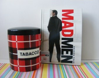 Tobacco Jar Tin Humidor Red Black Geometric Plaid Mad Men