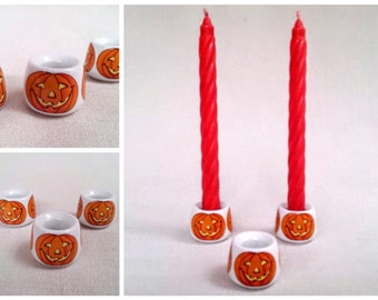 Set of 3 Vintage 1980s Halloween Pumpkin Candleholders, FUNNY DESIGNS Made in W. Germany, White Porcelain Ceramic Candleholders with Pumpkin