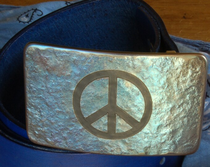 """PEACE Sign Belt & Buckle Hand Forged Hypoallergenic Buckle Signed Original Accessories fits 1.75"""" Blue Hand Dyed Belt and Buckle Unisex Set"""