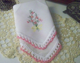 Ladies Handkerchief, Ladies Hanky, Hankie, Hand Crochet, Pink, Floral, Personalized, Embroidered, Monogrammed, Ready to ship, Lace, Lacy