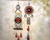 RESERVED for Pam – LAYAWAY – Mosaic Garden Asymmetrical Vintage Micromosaic Earrings