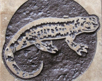 4x4 California Tiger Salamander Tile - Etched Travertine Stone Decorative Tile
