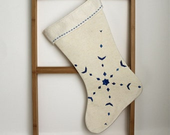 Christmas Stocking abstract blue snowflake hand painted quilted  eco friendly cream hemp  OOAK 27