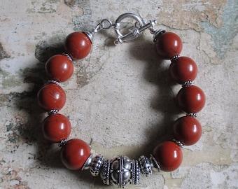Red Jasper Sterling Bracelet - Natural stones red brick jasper and sterling