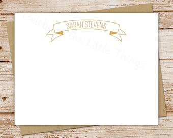personalized stationery set . ribbon banner note cards, notecards . flat personalized stationary . set of 10