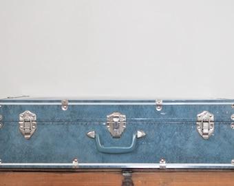 Vintage Blue Metal Suitcase 28 Inch Large Luggage Case Storage