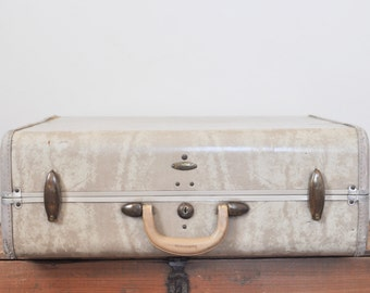Vintage Samsonite Suitcase Ivory Marble Luggage 21 Inch Hardside Suit Case Travel Storage Display