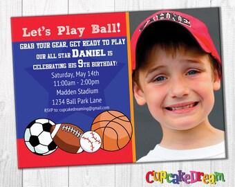 Sports Invitation All Star Birthday