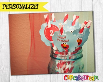 Elmo Birthday, Paper Straws, Drinking Label Tags