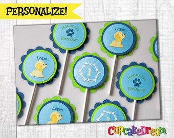Puppy Birthday Cupcake Toppers, Set of 12