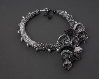 Black and Silver Crocheted Necklace