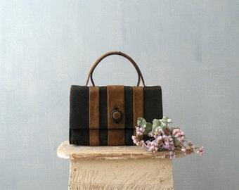 CLOSING SHOP 50% SALE / Vintage 1960s Mod purse. 60s handbag. Brown black suede purse