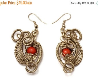 ON SALE Red Coral Dangle Earrings Wire Wrap Earrings Steampunk Earrings Coral Earrings Gemstone Earrings Red Stone Earrings Wire Earrings