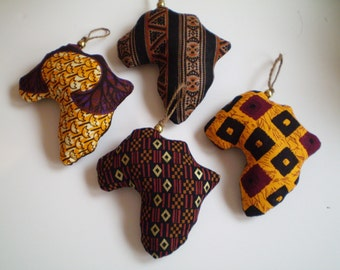 African Fabric Ornaments, Brown Orange African Ornaments, Shape of Africa Ornaments