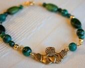 Green Jasper Claddagh Bracelet