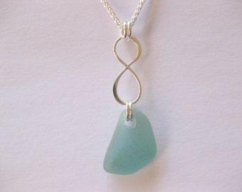 Sea glass necklace - sterling silver seaglass jewelry Seaglass infinity necklace Beach Glass Jewelry