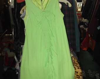 1960s sleevless Lime Green Mini Dress-petite
