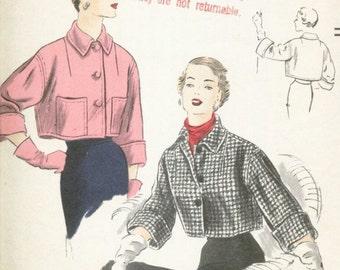 Vintage 1950 Misses' Cropped Coat Pattern, Drop Shoulder, Vogue 7045