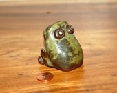 Wonderful Miniature Stylized Big Eyed / Big Mouth Toad ~ Stoneware ~ Hand Built ~  Terrarium