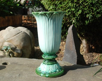 Tall Hull Pottery Vase in Emerald Green flowing into Mint Green into Whitish Blue Green with Forest Green Interior  # 421 USA