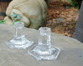 1992 Tiffany & Co. Crystal Candle Holders ~ Louis Comfort Tiffany Collection Candlesticks ~ House Warming ~ Valentine ~ Birthday ~Christmas