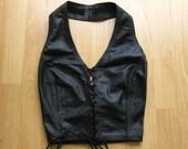 Vintage Black Leather Lace Up Corset Halter Top S/XS