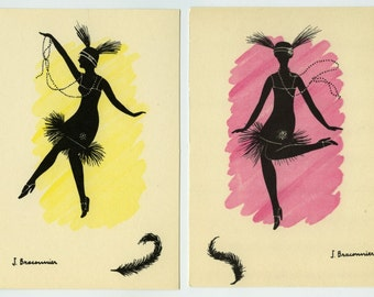 2 Vintage Charleston Dancers Silhouette Postcard French Artist 'Braconnier' ~ Unused 518