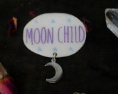moon child brooch, wicca, hippie, magic, magical, spooky,witchy, witch, Brooch,hippie pin, pagan pin