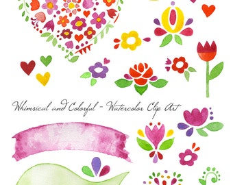 Whimsical & Colorful Watercolor Clip Art