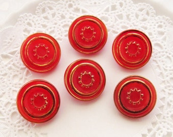 Vintage Art Deco Red & Gold Pressed Glass Czech Buttons 18mm -6
