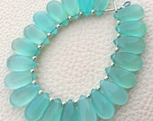 Brand New, 5 Matched Pairs, 15x7mm Long aprx., PERU AQUA BLUE Chalcedony Smooth Pear Briolettes,Amazing Item at Low Price