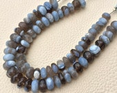 Rare Natural Peruvian Grey-Blue Opal Faceted Rondelles,8-9mm Size.Full 7 Inch Long Strand