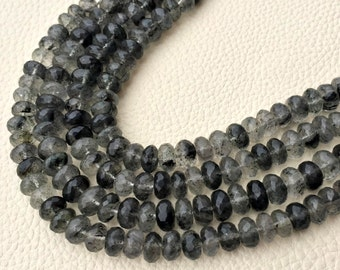 Rare Natural Moss Black Rutilated Quartz Faceted Rondelles,7-8mm Size.Full 7.5 Inch Long Strand