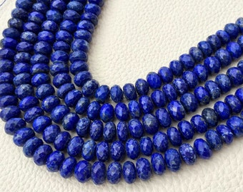 Rare Natural Lapis Lazuli Faceted Rondelles,7-8mm Size.Full 8 Inch Long Strand