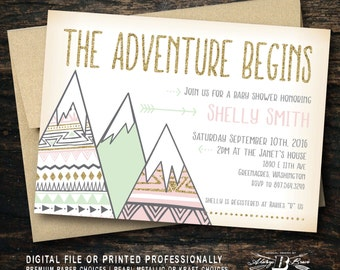 The Adventure Begins Baby Shower Invitation Printable Little