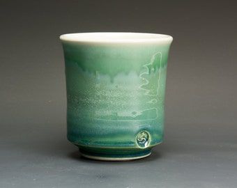 Handmade porcelain tea cup Japanese yunomi teacup jade green 14 oz 2723