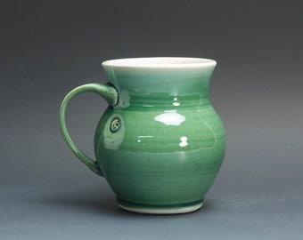 Pottery coffee mug, ceramic mug, porcelain tea cup jade green 16 oz 3033