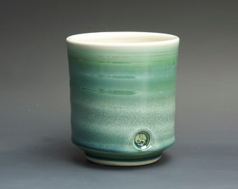 Handcrafted pottery tea cup tea bowl jade green Japanese porcelain yunomi 14 oz. 3134