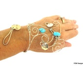 Turquoise hand bracelet, wire wrapped non tarnish silver boho hand cuff, gift for her