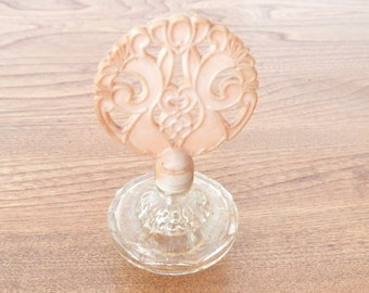 Antique Perfume Bottle with Bakelite Top and Decorative Glass Bottom - Ladies Perfume Bottle