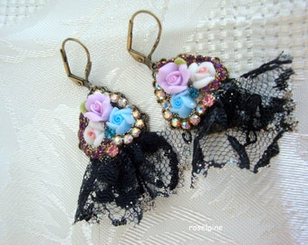 Victorian earrings blue and lace