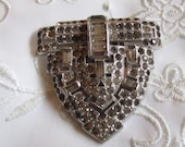 Vintage Silver Tone Dress Clip Covered with Rhinestones
