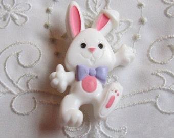 Vintage Hallmark Plastic White Easter Rabbit Pin with Purple Bow