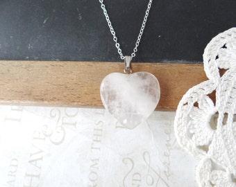 PURE vintage white quartz heart charm necklace | sterling silver | love | valentine | snowy | snow day | under 20