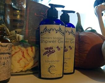 Lavender Shower Gel, Body Wash, Liquid Soap, or Bubble Bath - 8oz