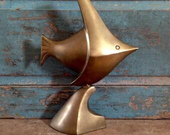 Brass Fish Sculpture Statue Vintage
