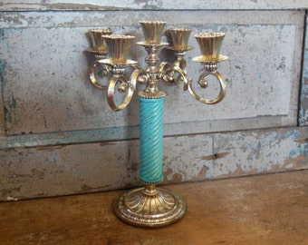 Candelabra Aqua Gold Silver Painted Ornate