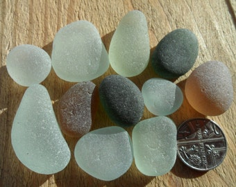 11 Pendant Pieces - Beautiful Seaham English Sea Glass - Free Shipping (4905)