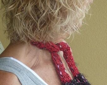 Bohemian Clothing Black Red Crochet Small Scarf